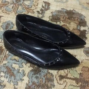 Charles and Keith black patent flats with studs